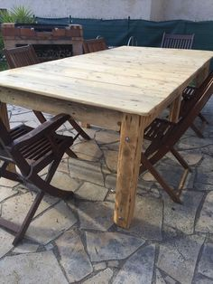I used five pallets and dismantled them all. For the feet of the table, I used layers of pallet wood …