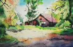 Watercolor Landscape Inspired by Artist Vilas Kulkarni