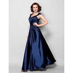 A-line Plus Sizes / Petite Mother of the Bride Dress - Dark Navy Floor-length Sleeveless Stretch Satin / Lace – USD $ 119.99