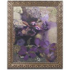Trademark Fine Art 'Purple Botanical' Canvas Art by Nick Bantock, Gold Ornate Frame, Size: 11 x 14, Assorted