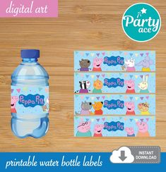 Peppa Pig Birthday Party Printable Water Bottle Labels image 0 eppa This halloween is actually Birthday Party Decorations, Birthday Parties, 3rd Birthday, Paw Patrol, Peppa Pig Printables, Peppa Pig Party Supplies, Cumple Peppa Pig, Peppa Pig Birthday Cake, Printable Water Bottle Labels