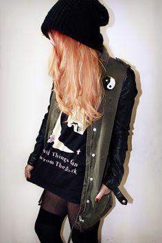 military style jacket, stockings & black beanie