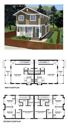 Duplex Plan 99955 | Total Living Area: 1800 sq. ft., 6 bedrooms, 2 full bathrooms, 2 half baths and one 3/4 bath. #duplexplan