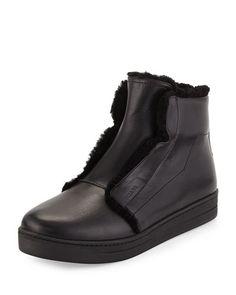 X2SAU Prada Shearling-Lined High-Top Sneaker, Black (Nero)