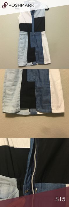 Color block Jean Chambray dress Small Super cute color block chambray and cotton color block patterned mini dress. Never worn. Has a single back pocket and zips down the front as well as belt loops! Dresses