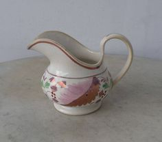 PINK LUSTERWARE PITCHER Creamer Classical English Luster Pattern Pink Purple Green Charming Helmet Shape Creamware England 1800's by OnceUpnTym on Etsy