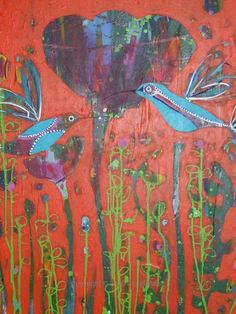 Blue Birds on Orange - Claire West