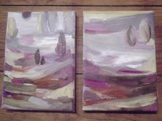 oils on canvas on wooden frame, original, signed, each of them measure 18 x 13 cm  ready to hang..sides painted  beautiful earth colours...ochres,