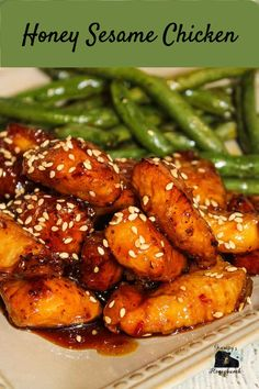This Honey Sesame Chicken is so easy to make you will not need to order takeout! Delicious bite sized pieces of chicken are battered and fried and then coated with a sweet and tangy honey sesame sauce. #copycatrecipe #chicken #honey #sesame #GHBrecipes #quickandeasy #recipe #homemade Honey Sesame Chicken, Cashew Chicken, Chicken Recipes At Home, Venison Meat, Asian Chicken Salads, Sesame Sauce, Garlic Recipes, Boneless Chicken Breast, Easy Dinner Recipes