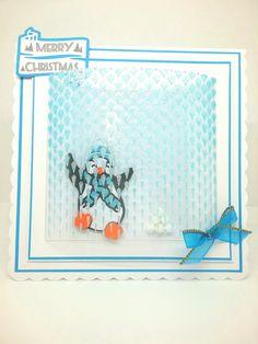 My Tonic Studios- falling Diamond Stencil & Nuvo Blue Glitter Paste