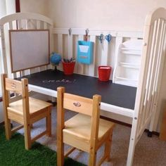 Reuse an old crib to make an art desk for child :)