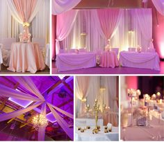 Inspirational collage for rose palette wedding. By Unico Decor