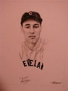 """My drawing of Bob Feller which he signed and added """"very good!"""""""