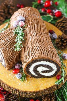 This classic Yule Log Cake has tender chocolate sponge cake filled with mascarpone whipped cream and covered with whipped chocolate ganache! #yulelog #buchedenoel #christmas #christmasdessert
