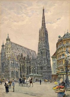 Ernst Graner Stephansdom, Vienna - The Largest Art reproductions Center In Our website. Low Wholesale Prices Great Pricing Quality Hand paintings for saleErnst Graner Large Art, Watercolor And Ink, Art Reproductions, Art For Sale, Barcelona Cathedral, Paris Skyline, Past, Louvre, Belle Epoque