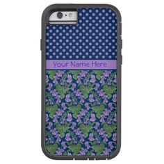 A chic Xtreme case to personalise for your iPhone 6 case smartphone,  with a mix'n'match pattern of Polka Dots and Violets, from a watercolour painting by Judy Adamson. Part of the Posh & Painterly 'Sweet Violets' collection: up to $59.95 - http://www.zazzle.com/violets_and_polka_dots_iphone_6_case_xtreme_case-256958620988877914?rf=238041988035411422&tc=pintw