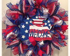Patriotic Deco Mesh Wreath/Labor Day by CKDazzlingDesign on Etsy