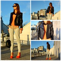 "New Look Sweater, Bershka Sweat Pants, Zara T Shirt, Senso Wedges //""ORANGE SUNSET"" by Jen A. // LOOKBOOK.nu"