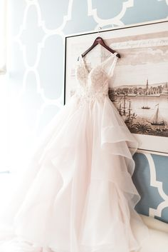 725d778b898 MIDGLEY AND SOTTERRO wedding gown from Bridal Garden hanging in Hotel  Monaco Philadelphia by Brittani Elizabeth Photography