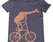 Ladies - Giraffe on a Two High Bike- T Shirt AMERICAN APPAREL S M L XL (Navy Blue)