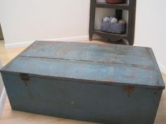 Antique Primitive Original Blue Paint Wood Blanket Box Bread Board Ends American