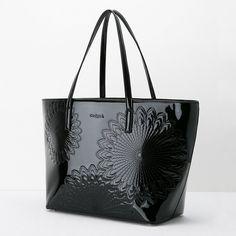 Sac shopper en cuir synthétique verni noir   Desigual.com B