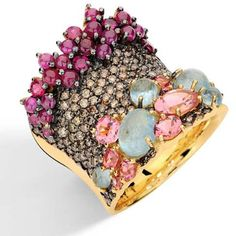 Baobab Collection - Ring in 18k yellow gold with round brown diamonds, aquamarine, ruby and pink tourmaline.