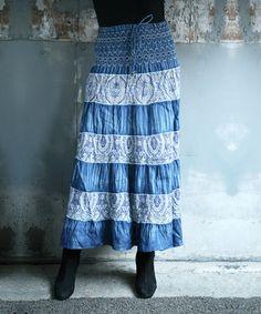 Another great find on #zulily! Blue Denim Paisley Peasant Skirt - Women #zulilyfinds
