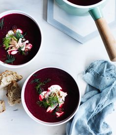 Beetroot soup with smoked trout and dill :: Gourmet Traveller Magazine Mobile