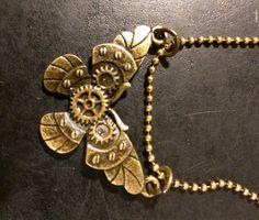 Steampunk, Butterfly, Necklace, retro, Victorian, Nature, Fantasy, Unisex, Boho, Gears, Futuristic by KudzuCatCreations on Etsy