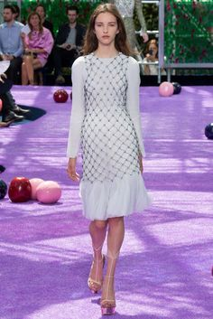 Christian Dior Fall 2015 Couture...this caged, netting overlay is beautiful over top the floaty white dress. It's feminine and different, I love this dress-RUNWAY