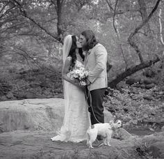 Brie Bella Daniel Bryan and Josie the pup on the wedding day