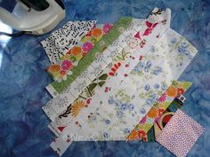 Photo of string quilt block with all strips added