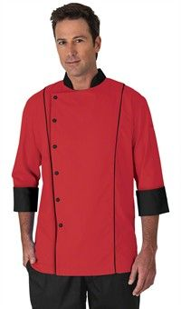base for monkey coats Men's 3/4 Sleeve Traditional Fit Chef Coat - Snap Front Closure - 100% Cotton