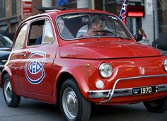 Montreal Canadiens fans driving by the Bell Center on de la Montagne before game 2 between Philadelphia and Montreal Montreal Canadiens, Sports Teams, Fiat, Athletes, Rocks, Cars, Autos, Car, Stone