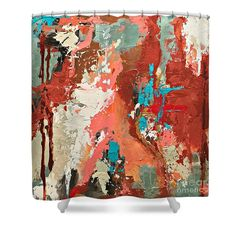 Abstract Shower Curtain featuring the painting Traveler by Mary Mirabal