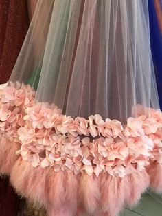 pink bridal lace fabric for haute couture dress with 3D flowers and feathers