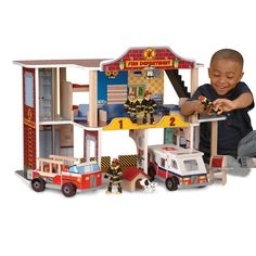 """Wooden Toy Firehouse Play-Station 22 pc Set at CPtoys.com. Slide down the pole, gather the gear, roll out the trucks…these 4 firefighters are always on call for heroic play. Kids will direct all the action in and around the 26"""" L. x 14"""" W. x 18¾"""" H. wooden firehouse. 22 pc. set. Ages 3 yrs. +. Sorry, no gift wrap or Express Delivery. $149.99"""