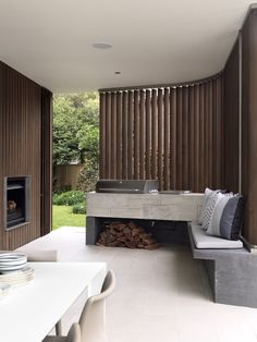 7 Outdoor Kitchen Design Ideas For Awesome Backyard Entertaining - Modern outdoor kitchens don't have to be anything too fancy. A simple work area, cooktop and a pl - Outdoor Barbeque Area, Bbq Area, Outdoor Rooms, Outdoor Living, Outdoor Furniture Sets, Outdoor Decor, Rustic Outdoor, Wooden Furniture, Casa Gaudi
