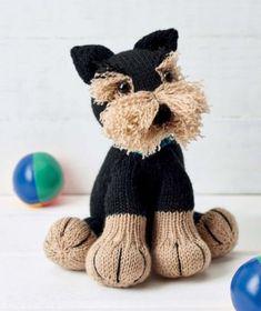 Freddie the Deradog Schnauzer knitting pattern Baby Knitting Patterns, Loom Knitting, Free Knitting, Crochet Patterns, Knitting Toys, Crochet Birds, Crochet Bear, Knitted Animals, Dog Pattern