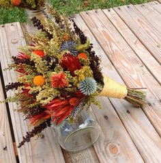 Tequila Sunrise Collection - Bridesmaid Bouquet - Dried Flower Toss Bridal - Fall Wedding - Just for the toss Bouquet Rustic Bridal Bouquets, Bridal Bouquet Fall, Bridal Flowers, Fall Flowers, Bridesmaid Bouquet, Wedding Bouquets, Wedding Dresses, Dried Flower Bouquet, Dried Flowers