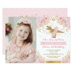 Chic Blush Pink Gold Dinosaur T Rex Girl Birthday Invitation #Birthday #BirthdayInvitations #BirthdayInvites Girl Dinosaur Birthday, Dinosaur Birthday Invitations, Little Girl Birthday, 3rd Birthday, Gold Invitations, Floral Invitation, Custom Invitations, Pink And Gold, Blush Pink