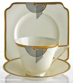 I love it...Rare Art Deco Royal Doulton Art Deco Trio in Tango Pattern V1681.