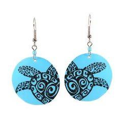 hand painted turtle earrings
