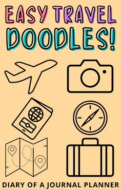 Planning a travel bullet journal? We've rounded up the best travel bujo doodle tutorials for you! #doodles #traveldoodles #bulletjournaltravel Bullet Journal Easy, Bullet Journal Travel, Bullet Journal Layout, Happy Doodles, Bujo Doodles, Simple Doodles, Travel Journal Pages, Travel Journal Scrapbook, Art Journal Pages