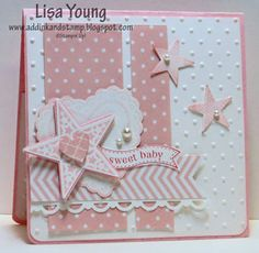 This is such a pretty card. There is just two colors, pink and white, but all the details make it pop.