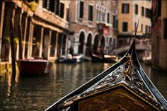Gondoliering  down a Venice street