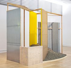 anassembly:  Hélio Oiticica Nas quebradas (Penetrable), 1979 Collage, wood, brick and gravel Dimensions variable