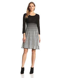 Calvin Klein Women's Long-Sleeve Stripe Flare Sweater Dress
