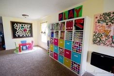 Check out this playroom reveal chock full of toy storage, organization, and decor ideas!